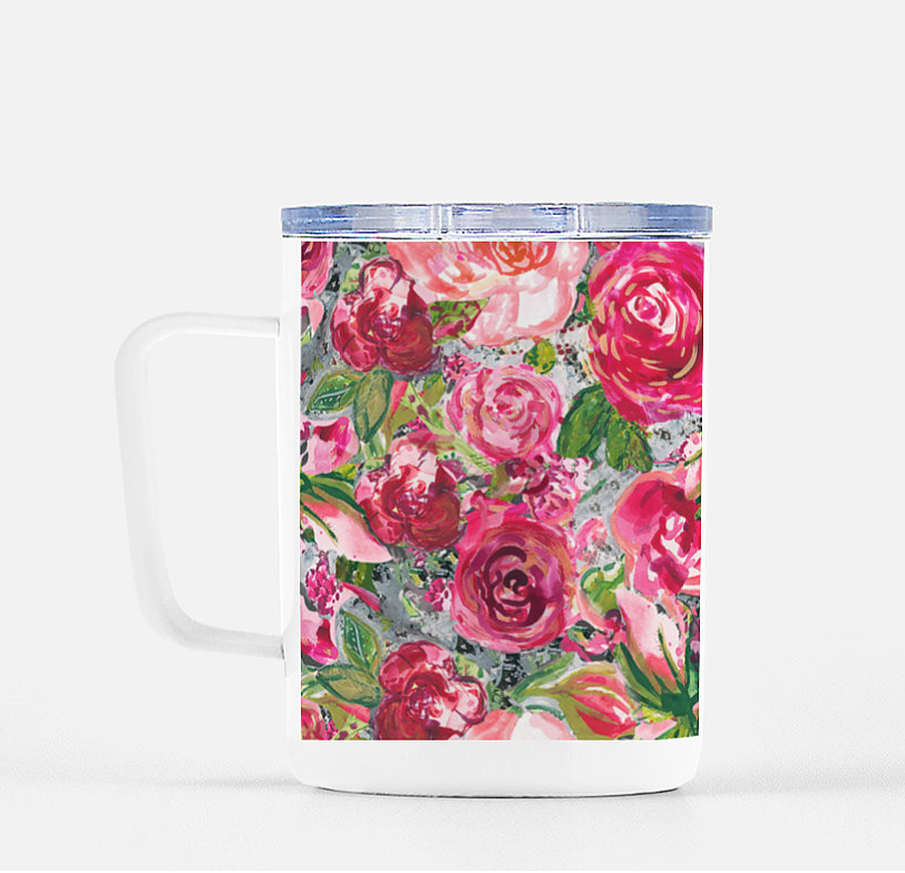 Big Multi Roses Stainless Steel Mug with Lid  -  10 Ounces - Dreams After All