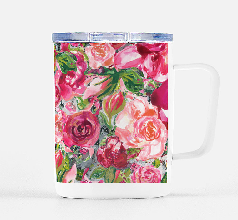 Mug with Lid Big Multi Roses Stainless Steel - Dreams After All