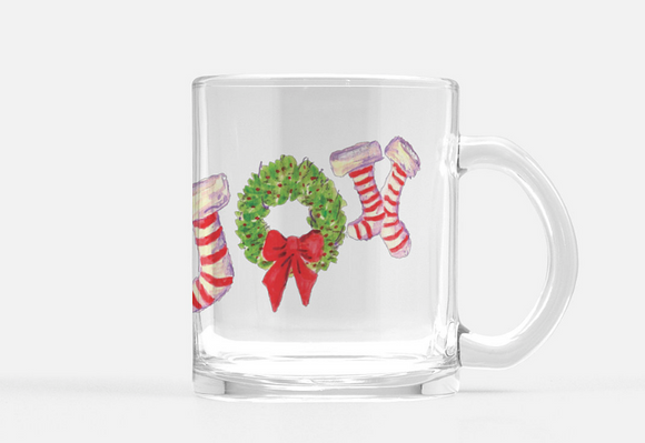 Mug Joy Stockings Christmas Holiday Glass Mug 10 oz. - Dreams After All