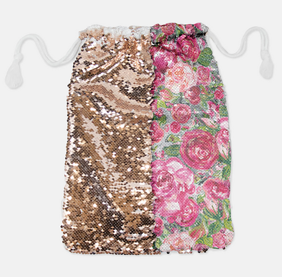DRAWSTRING BAG - ROSE'S COTTAGE / ROSE GOLD SEQUINS - Dreams After All