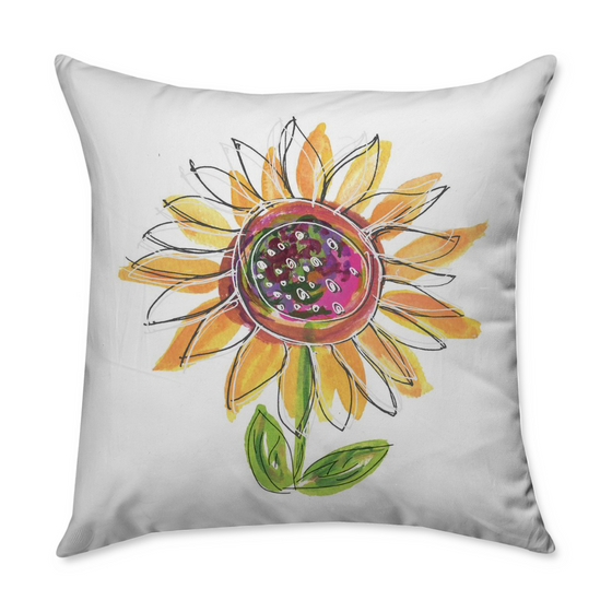 Sunflower Square Throw Pillow - Dreams After All
