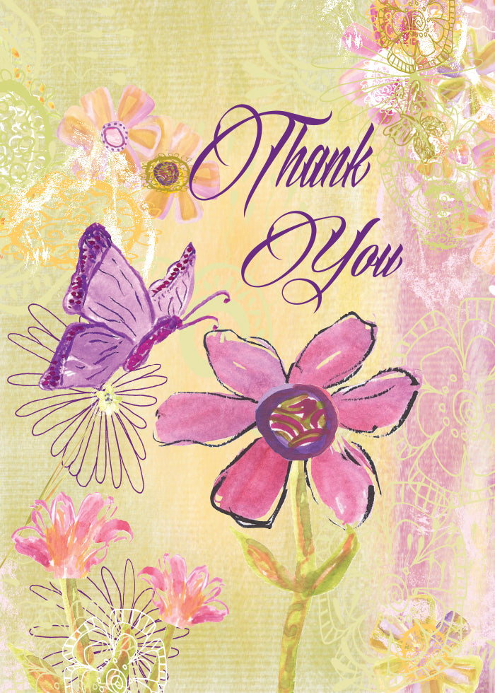 Thank You Olive Purple Butterfly Greeting Card - Dreams After All