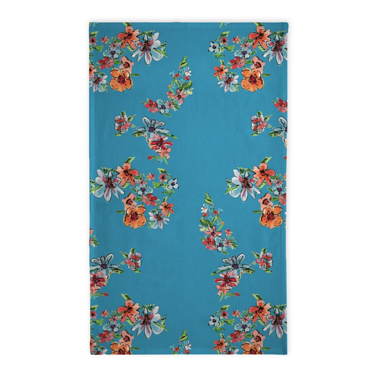 Daisy Bright Blue Floral Tea Towel - Tea Towel - Dreams After All