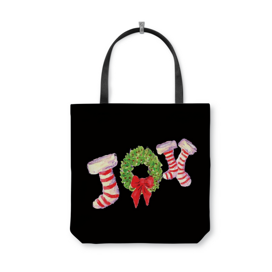 Joy Stockings on Black Tote Bag With Woven Handles - totes - Dreams After All