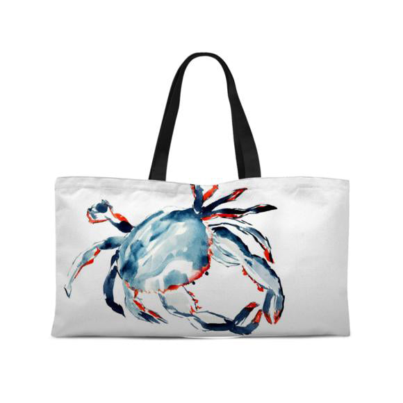 Sometimes I'm Just Crabby Weekend Tote with Woven Handles - tote - Dreams After All