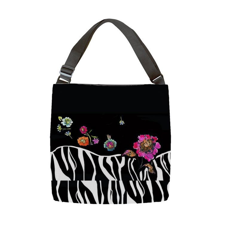 Zebra Floral Tote With Adjustable Handle