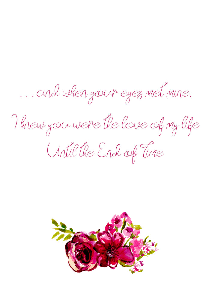 End of Time Love Poem Greeting Card by Renée Rubach Handmade with Love - Dreams After All