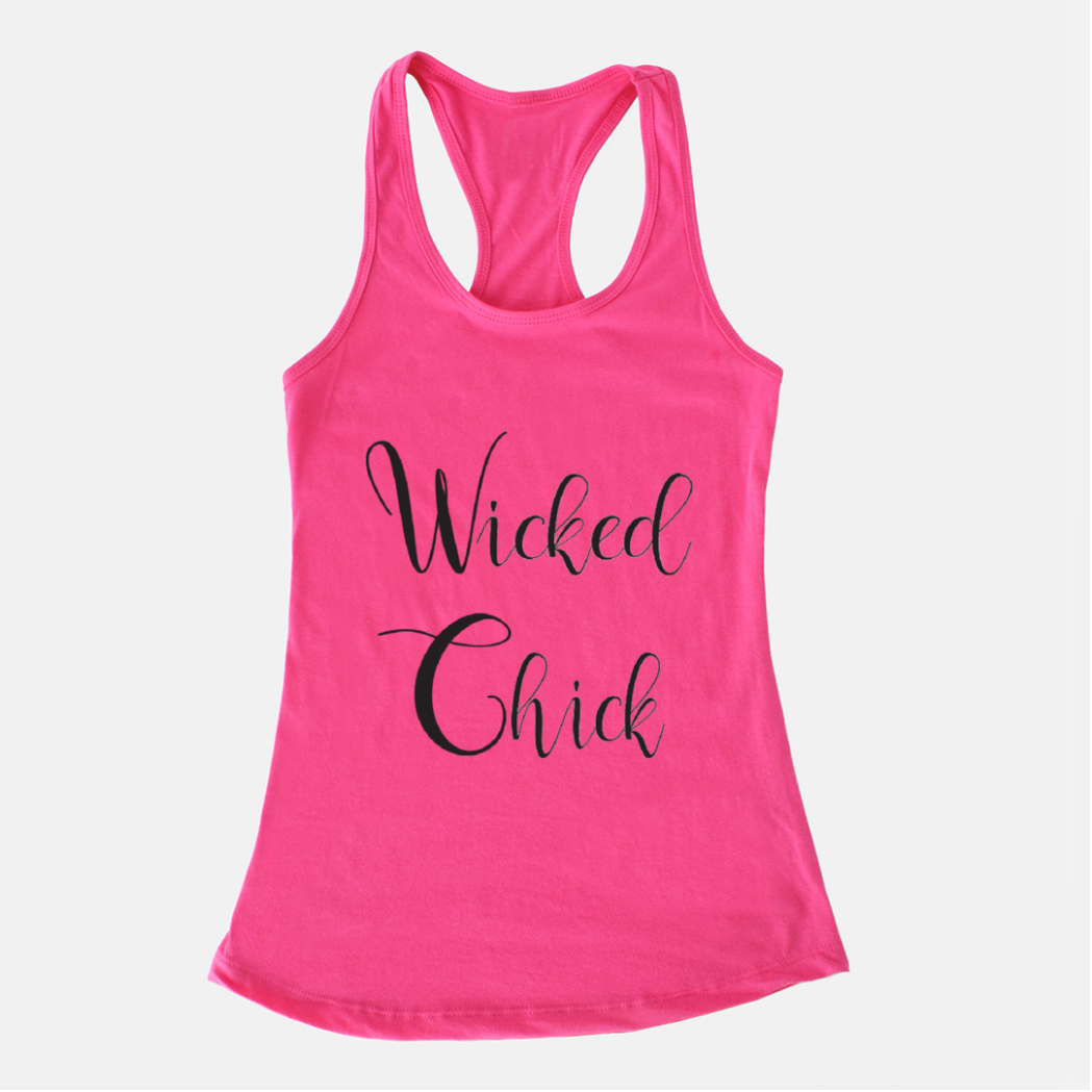 Wicked Chick Bright Pink Racerback Tank