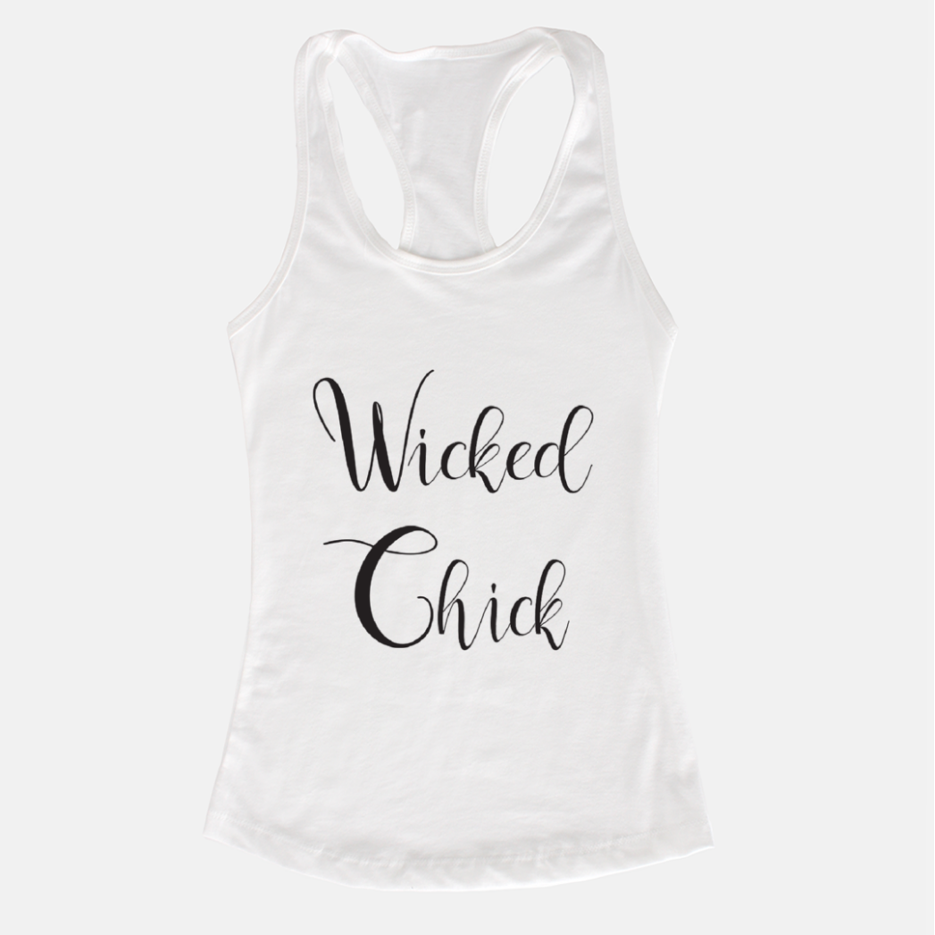 Wicked Chick White Racerback Tank