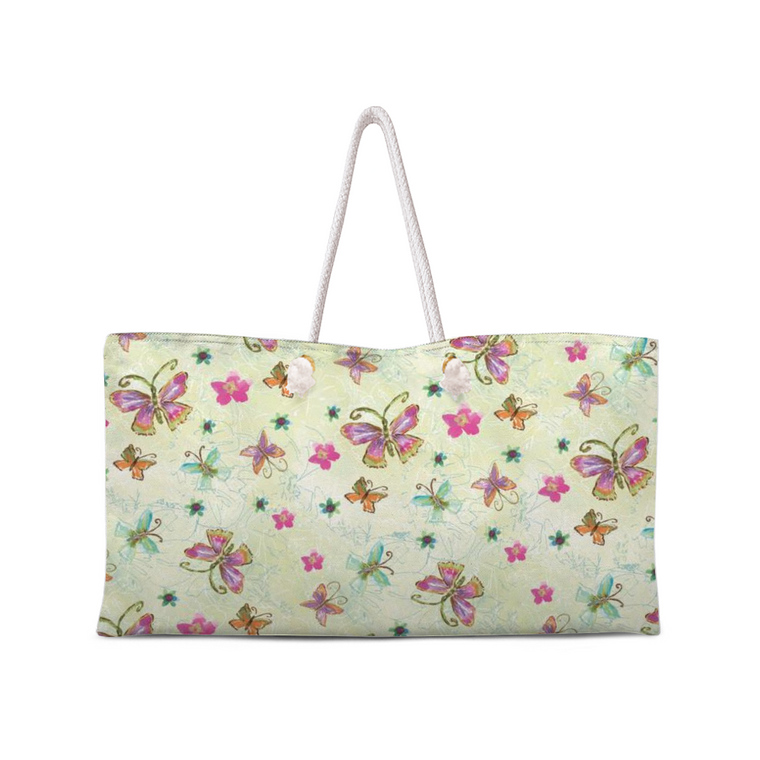 Four Butterfly Weekend Tote with Rope Handles ! Renée Rubach Art - Dreams After All