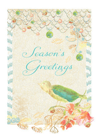 Package of 25 Peaceful Season's Greetings Bird Holiday Cards Handmade/Hand-Glittered - Holiday Cards - Dreams After All