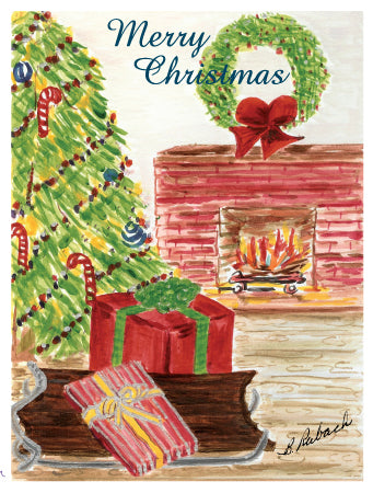 6 CARDS - Mom's Christmas Tree Greeting Cards - Glittered in Red and Gold - Dreams After All