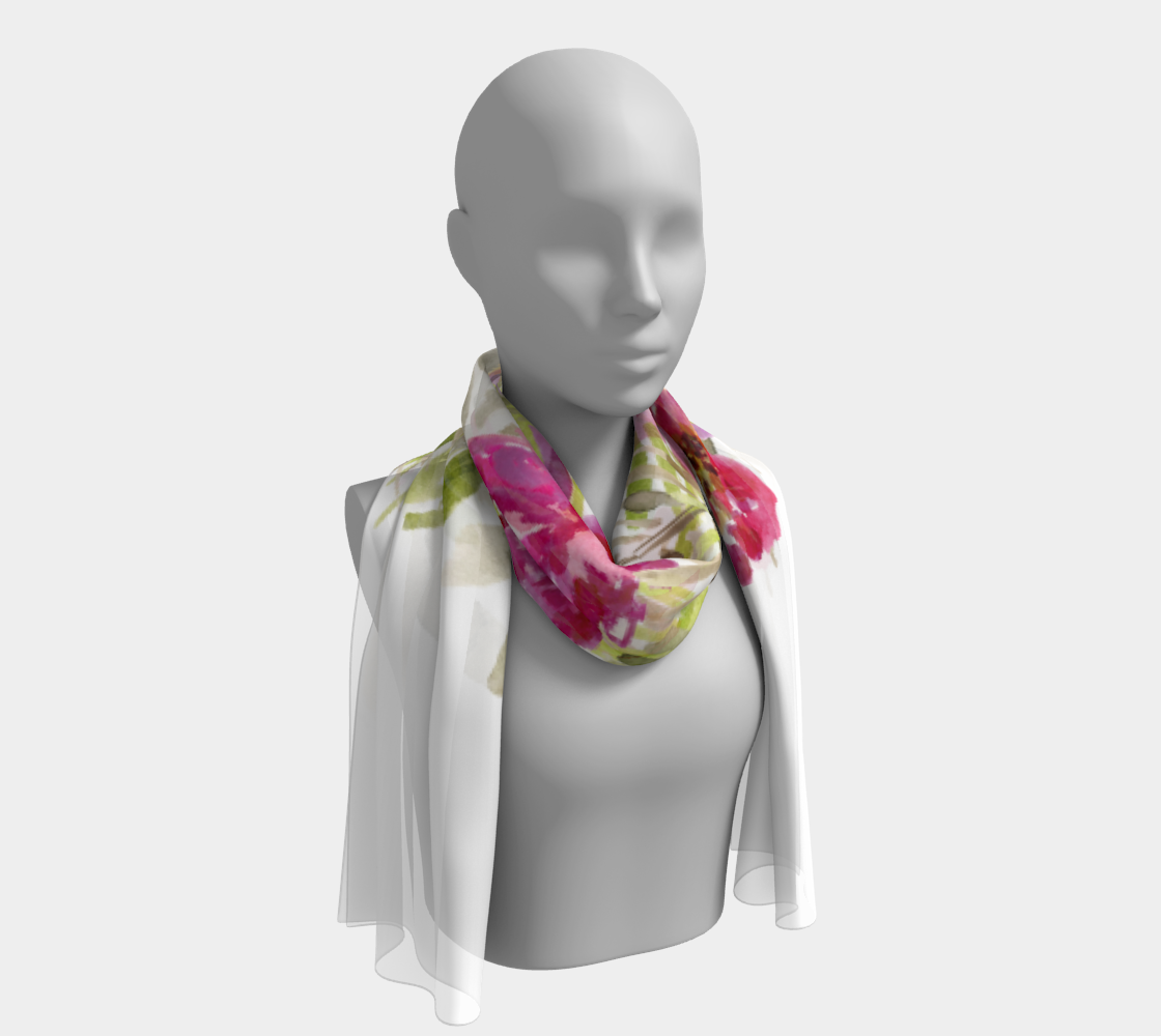 Renée White Floral Long Scarf - Dreams After All