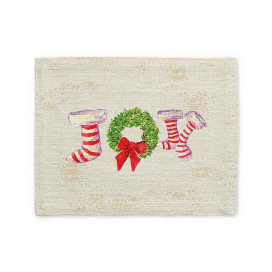 Joy Stockings on Beige Placemat - Home Goods - Dreams After All