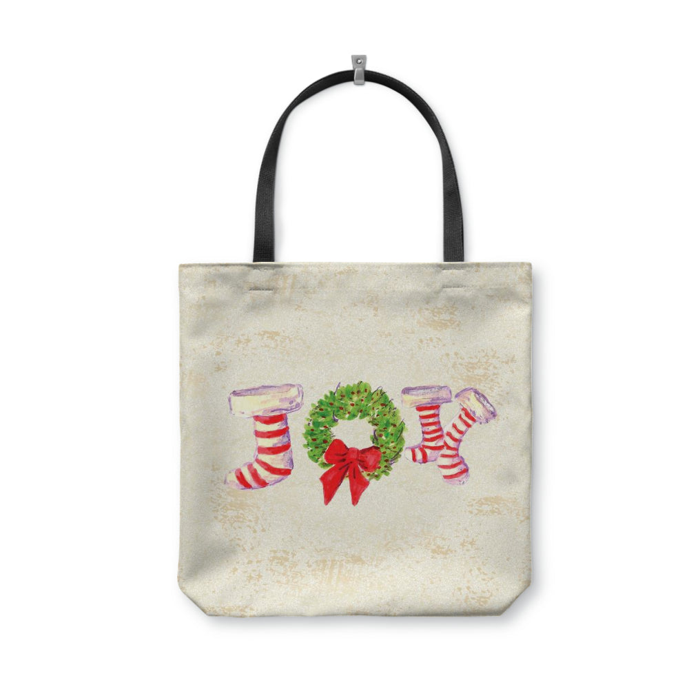 Joy Stockings White Tote Bag With Woven Handles - totes - Dreams After All