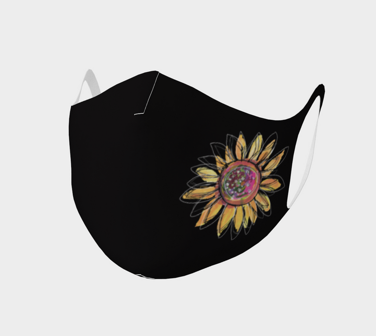 Sunflower Black Face Covering