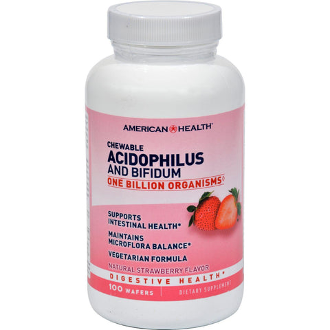 American Health Acidophilus And Bifidum - Strawberry - 100 Chewable Wafers - exploreLOHAS