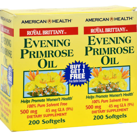 American Health Royal Brittany Evening Primrose Oil - 500 Mg - 2 Bottles Of 200 Softgels - exploreLOHAS