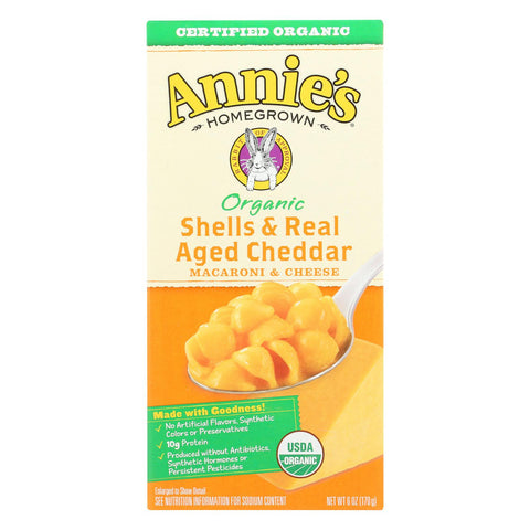 Annie's Homegrown Organic Shells And Real Aged Cheddar Macaroni And Cheese - Case Of 12 - 6 Oz.