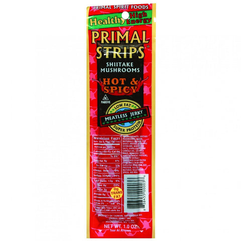 Primal Strips Vegan Jerky - Meatless - Shiitake Mushrooms - Hot And Spicy - 1 Oz - Case Of 24 - exploreLOHAS