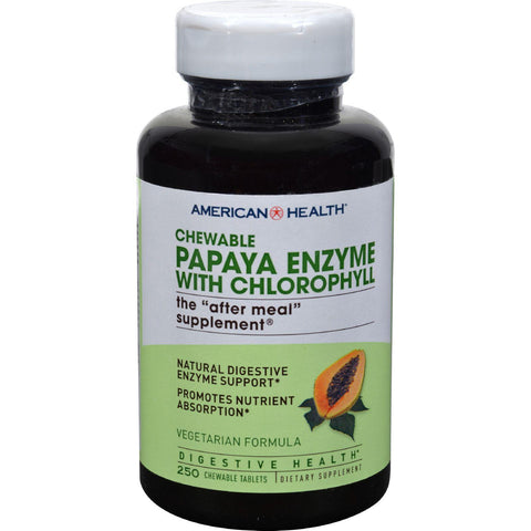 American Health Papaya Enzyme With Chlorophyll Chewable - 250 Tablets - exploreLOHAS