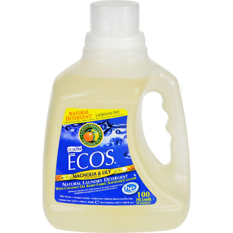 Earth Friendly Ecos Ultra 2x All Natural Laundry Detergent - Magnolia And Lily - Case Of 4 - 100 Fl Oz - exploreLOHAS