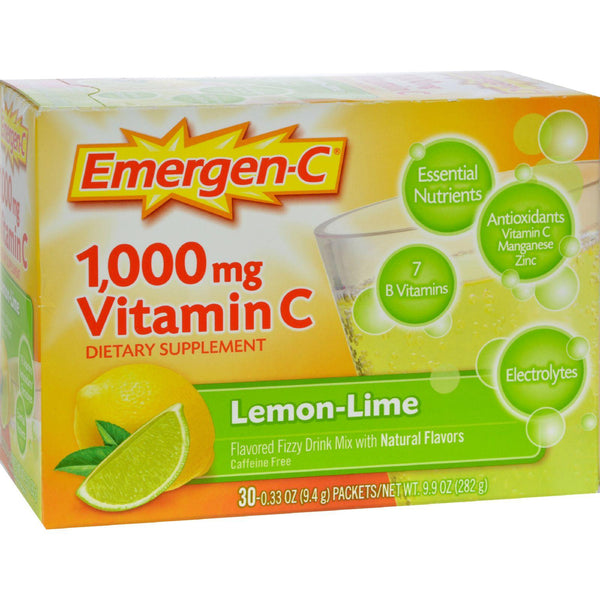 Alacer Emergen-c Vitamin C Fizzy Drink Mix Lemon Lime - 1000 Mg - 30 Packets - exploreLOHAS