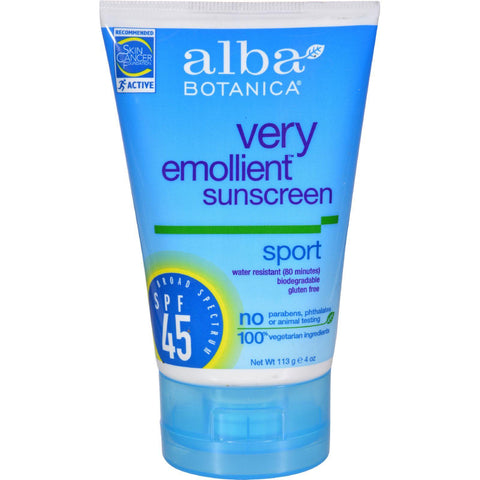 Alba Botanical Very Emollient Sunscreen Natural Protection Sport Spf 45 - 4 Oz - exploreLOHAS