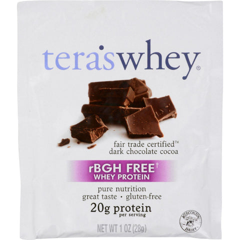 Teras Whey Protein Powder - Whey - Fair Trade Certified Dark Chocolate Cocoa - 1 Oz - Case Of 12 - exploreLOHAS