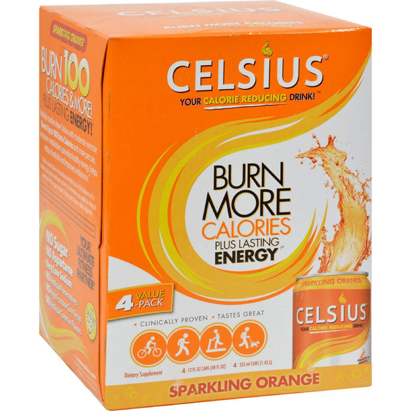 Celsius Sparkling Orange - 12 Fl Oz Each - Pack Of 4 - exploreLOHAS