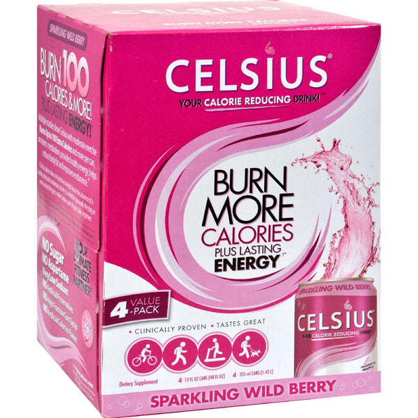 Celsius Sparkling Wild Berry - 12 Fl Oz Each - Pack Of 4 - exploreLOHAS