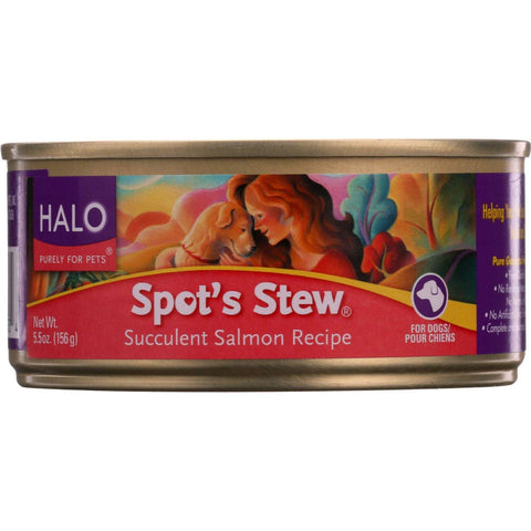 Halo Purely For Pets Dog Food - Spots Stew - Succulent Salmon - 5.5 Oz - Case Of 12 - exploreLOHAS