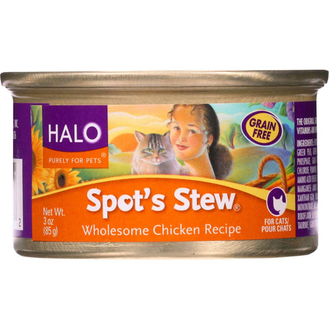 Halo Purely For Pets Cat Food - Spots Stew - Wholesome Chicken - 3 Oz - Case Of 12 - exploreLOHAS