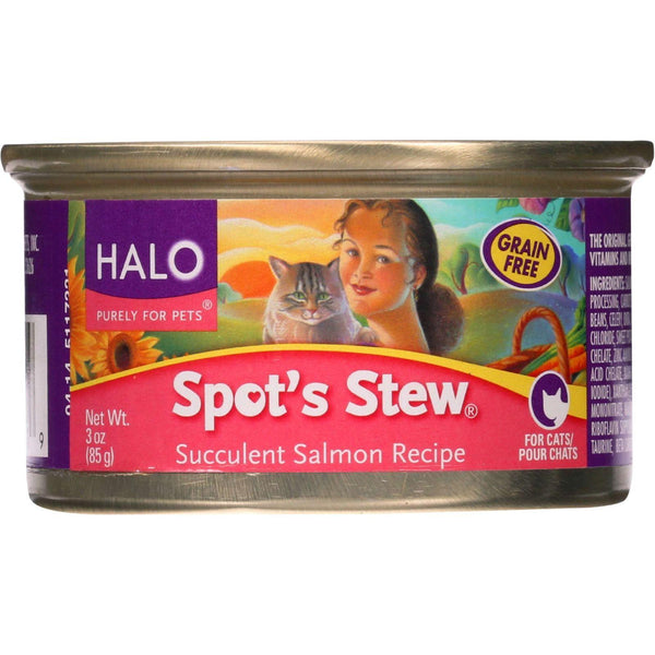 Halo Purely For Pets Cat Food - Spots Stew - Succulent Salmon - 3 Oz - Case Of 12 - exploreLOHAS