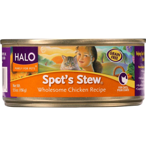 Halo Purely For Pets Cat Food - Spots Stew - Wholesome Chicken - 5.5 Oz - Case Of 12 - exploreLOHAS
