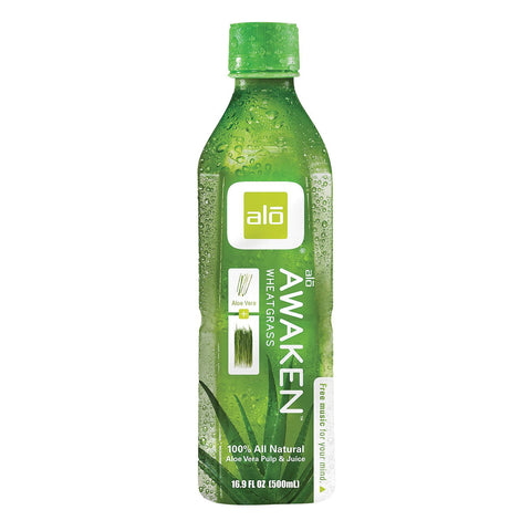 Alo Original Awaken Aloe Vera Juice Drink  - Wheatgrass - Case Of 12 - 16.9 Fl Oz. - exploreLOHAS