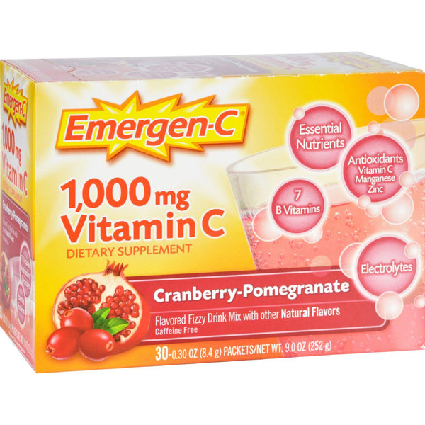 Alacer Emergen-c Vitamin C Fizzy Drink Mix Cranberry Pomegranate - 1000 Mg - 30 Packets - exploreLOHAS