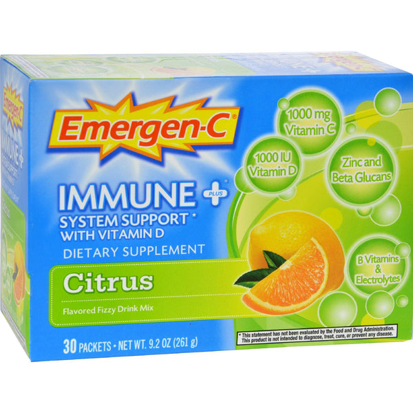 Alacer Emergen-c Immune Plus System Support With Vitamin D Citrus - 30 Packets - exploreLOHAS