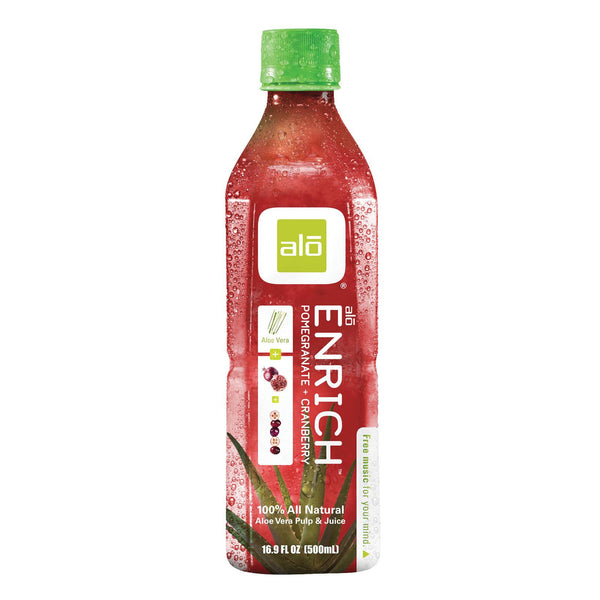 Alo Original Enrich Aloe Vera Juice Drink - Pomegranate And Cranberry - Case Of 12 - 16.9 Fl Oz. - exploreLOHAS