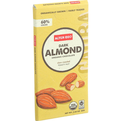 Alter Eco Americas Organic Chocolate Bar - Dark Almond - 2.82 Oz Bars - Case Of 12 - exploreLOHAS