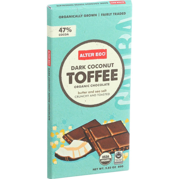 Alter Eco Americas Organic Chocolate Bar - Dark Coconut Toffee - 2.82 Oz Bars - Case Of 12 - exploreLOHAS