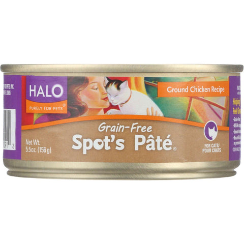 Halo Purely For Pets Cat Food - Spots Pate - Ground Chicken - Grain-free - 5.5 Oz - Case Of 12 - exploreLOHAS