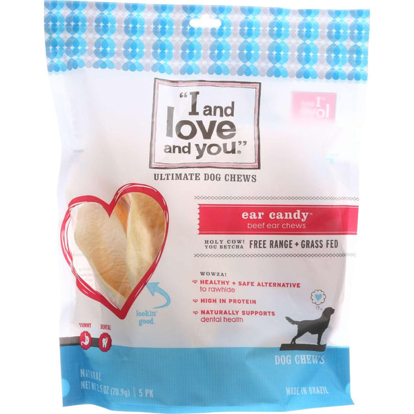 I And Love And You Dog Chews - Ear Candy - Beef Ear - 5 Count - Case Of 6 - exploreLOHAS