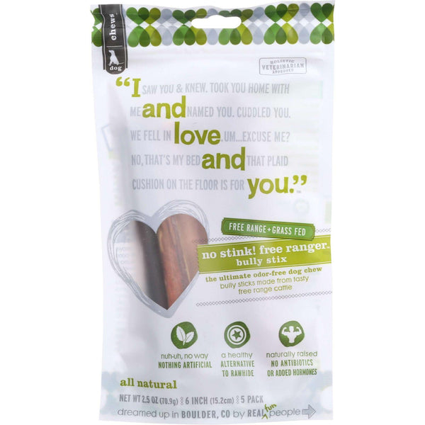 I And Love And You Dog Chews - No Stink Free Ranger Bully Stix - Beef - 5 Count - Case Of 6 - exploreLOHAS