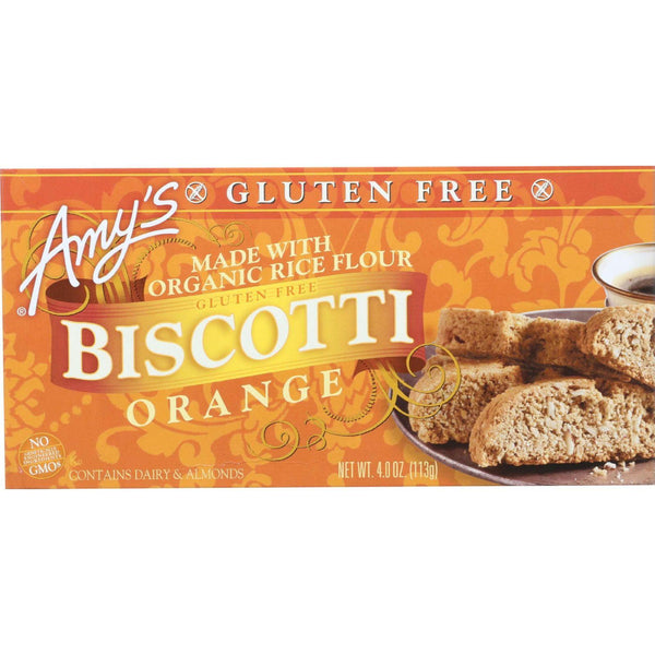 Amys Biscotti - Organic - Orange - Gluten Free - 4 Oz - Case Of 6 - exploreLOHAS
