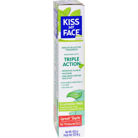 Kiss My Face Toothpaste - Triple Action - Fluoride Free - Gel - 4.5 Oz - exploreLOHAS