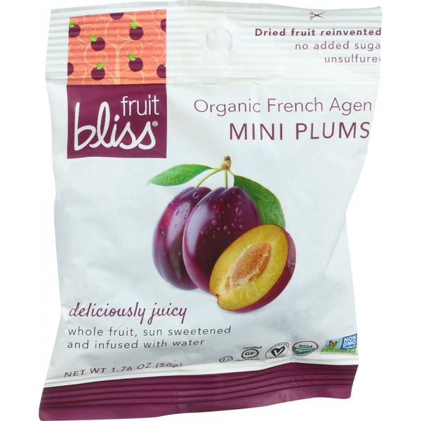 Fruit Bliss Organic Dried Plums - French Agen - Mini - 1.76 Oz - Case Of 12 - exploreLOHAS