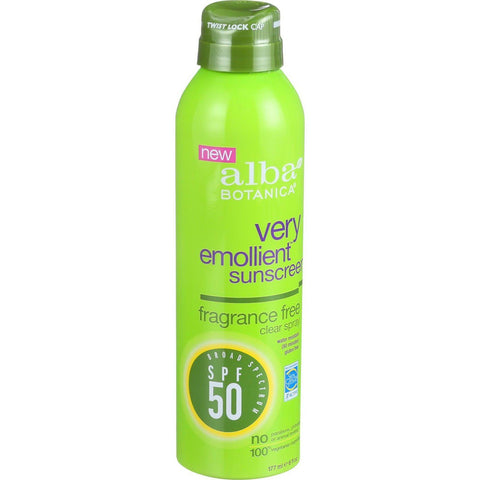 Alba Botanica Sunscreen - Very Emollient - Clear Spray Spf 50 - Fragrance Free - 6 Oz - exploreLOHAS