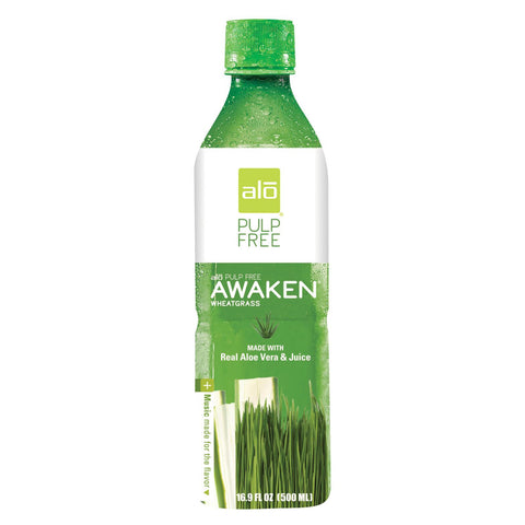 Alo Pulp Free Awaken Aloe Vera Juice Drink - Wheatgrass - Case Of 12 - 16.9 Fl Oz. - exploreLOHAS