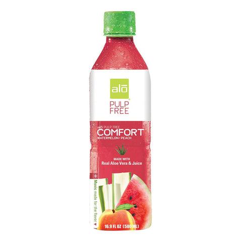 Alo Pulp Free Comfort Aloe Vera Juice Drink - Watermelon And Peach - Case Of 12 - 16.9 Fl Oz. - exploreLOHAS